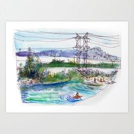 Kayaking in Los Angeles River Art Print