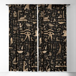 Ancient Egyptian hieroglyphs - Black and gold Blackout Curtain