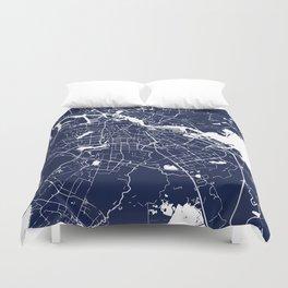 Amsterdam Navy Blue on White Street Map Duvet Cover