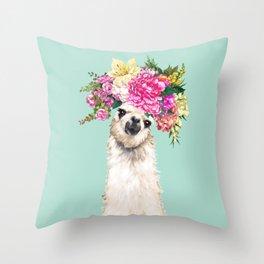 Flower Crown Llama in Green Throw Pillow