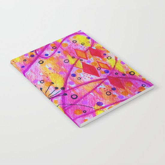 INTO THE FALL 2 - Whimsical Pink Purple Autumn Floral Watercolor Abstract Nature Pattern Fine Art  Notebook
