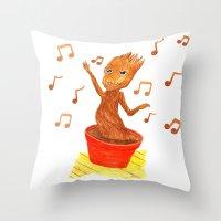 groot Throw Pillows featuring Baby Groot by gunberk