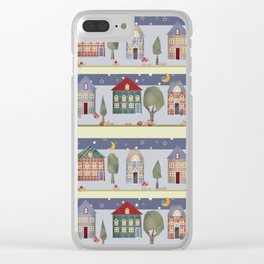 Kids patchwork seamless pattern with houses and trees Clear iPhone Case
