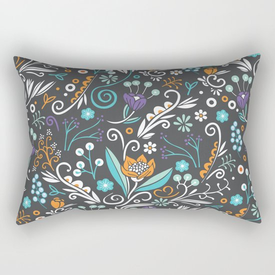 Flower circle pattern, brown Rectangular Pillow