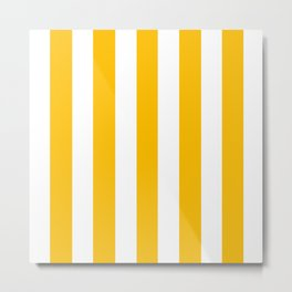 Mango orange - solid color - white vertical lines pattern Metal Print