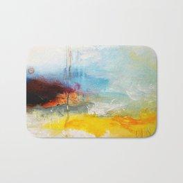 Abstract Blue Gold Digital Art from Original Painting Bath Mat