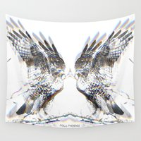 medicine Wall Tapestries featuring Hawk Medicine by Pola Phoenix