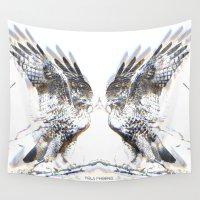 hawk Wall Tapestries featuring Hawk Medicine by Pola Phoenix