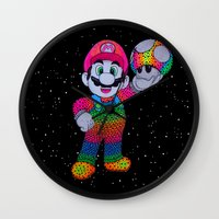 mario bros Wall Clocks featuring Mario Bros by Luna Portnoi