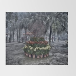 Lantau Island Flowers Throw Blanket