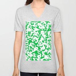 Spots - White and Dark Pastel Green Unisex V-Neck