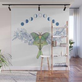 Luna moth moon phase Wall Mural