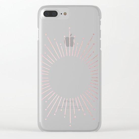 Sunburst Rose Quartz Elegance on White Clear iPhone Case