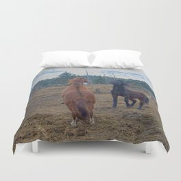The Challenge - Ranch Horses Fighting Duvet Cover