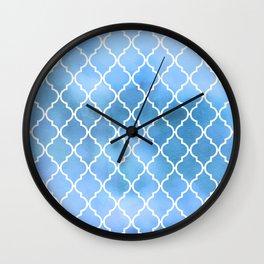 Moroccan Trellis, Latticework, Watercolors - Blue Wall Clock
