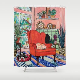 Red Armchair in Pink Interior with Houseplants, Ginger Cat, and Spaniel Interior Painting Shower Curtain