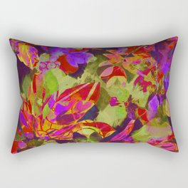 colorful floral with purple accent Rectangular Pillow