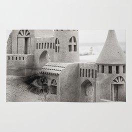 Sand castle. Double exposure portrait Rug