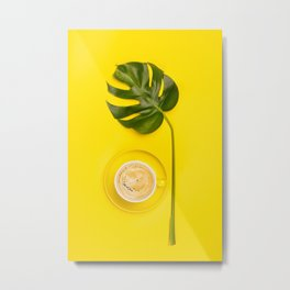 cup of coffee and tropical plant on yellow background Metal Print