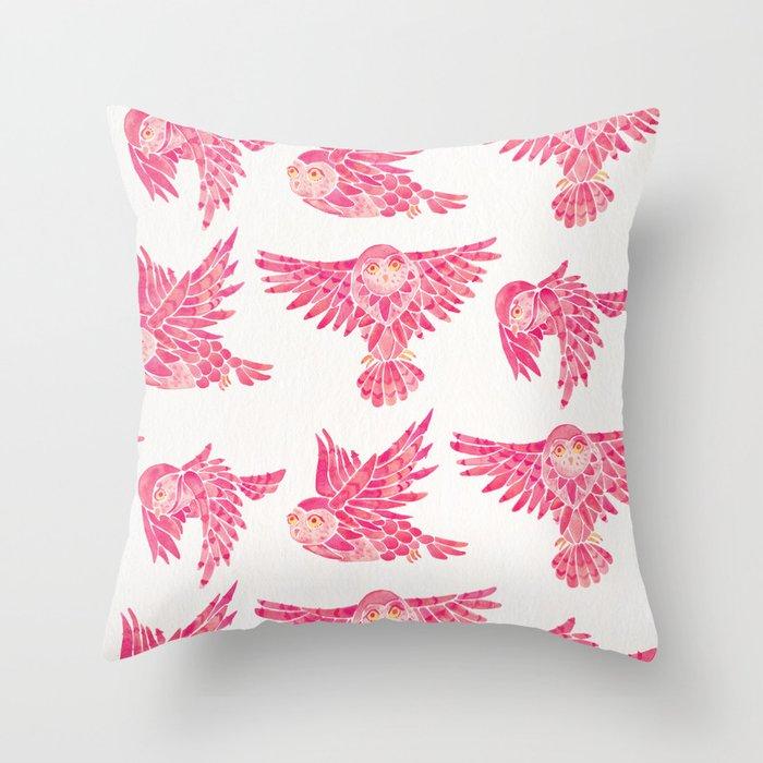 Owls in Flight – Pink Palette Throw Pillow