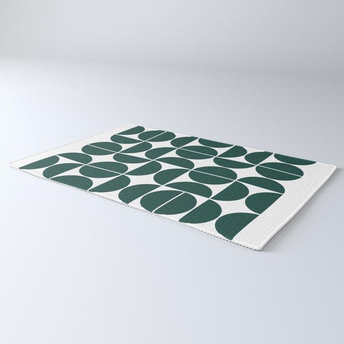 Mid Century Modern Geometric 04 Dark Green Rug