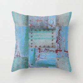 Blue Studded Metal Grunge Texture Throw Pillow