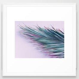 Palm leaf on pink Framed Art Print