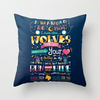 wolves Throw Pillows featuring Wolves by Art of Nanas