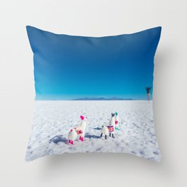 Llamas looking into the distance on the Salt Flats, Bolivia Throw Pillow