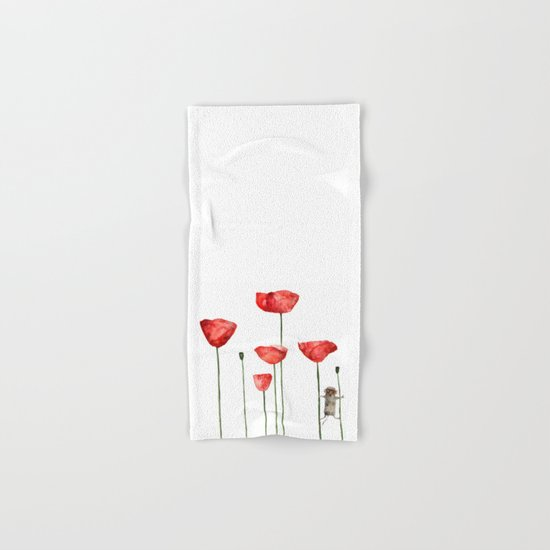 Mouse and poppies - Watercolor illustration Animal + Poppy Flower #Society6 Hand & Bath Towel