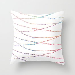 Modern abstract ombre pink lavender string lights Throw Pillow
