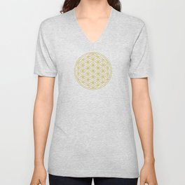 Flower of Life Gold Unisex V-Neck