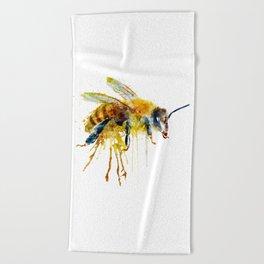 Watercolor Bee Beach Towel