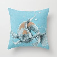 koi fish Throw Pillows featuring Koi Fish by Daydreamer