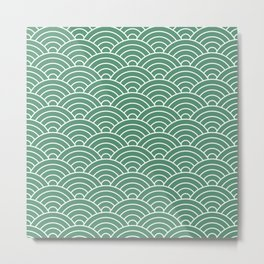 Fan pattern in green Metal Print