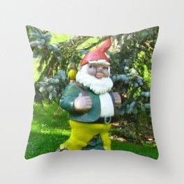 Garden Gnome in Switzerland Throw Pillow