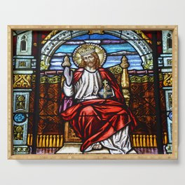 Lord Jesus on Throne stained glass Serving Tray