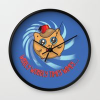mew Wall Clocks featuring Doctor Mew by Helenasia