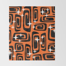 Mid Century Modern Cosmic Galaxies 435 Black and Orange Throw Blanket
