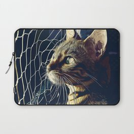 bengal cat yearns for freedom vector art foggy night Laptop Sleeve