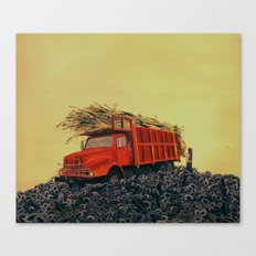 sugar cane and truck on fire Canvas Print