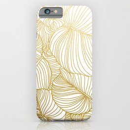 Wilderness Gold, Tropical Leaves Nature Line Art, Botanical Golden Minimal Graphic Drawing iPhone Case