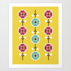 Scandinavian inspired flower pattern - yellow background Art Print