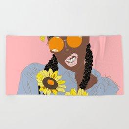 Believe in Yo Juice - Digital Black Goddess Vector Drawing Beach Towel