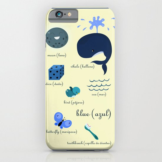 Colors: blue (Los colores: azul) iPhone & iPod Case