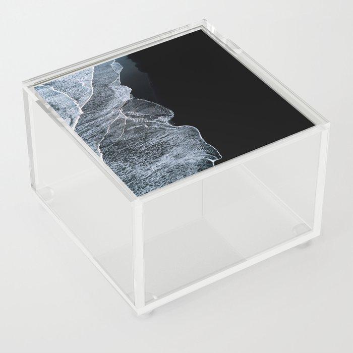 Waves on a black sand beach in iceland - minimalist Landscape Photography Acrylic Box