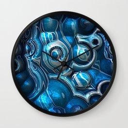 Macro 3D Blue Reflections Wall Clock