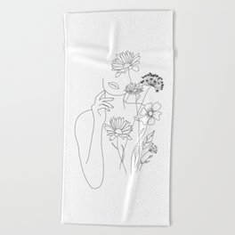 Minimal Line Art Woman with Flowers III Beach Towel