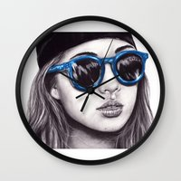 coachella Wall Clocks featuring Coachella  by Bella Harris