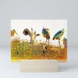 Nest Building At The Rookery Mini Art Print
